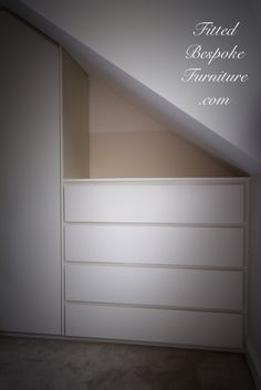 Wardrobe and drawers to fit with the sloping ceiling Diy Wardrobe, Wardrobe Design, Ceiling Ideas, Sloped Ceiling, Built In Furniture, Painted Furniture, Fitted Wardrobes, Bespoke Kitchens, Bedroom Loft