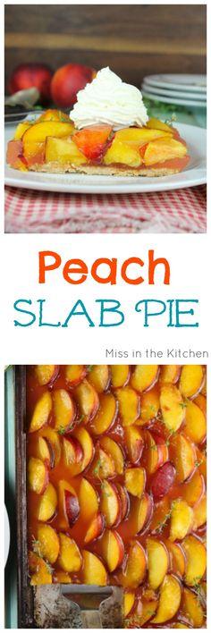 Peach Slab Pie Dessert Recipe using summer fresh peaches. From MissintheKitchen.com