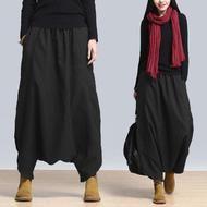 Zanzen Women Plus Harem Baggy Wide Leg Casual Solid Pants Yoga Trousers Oversize - Black / S