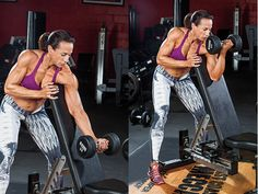 Work your biceps by doing this one-arm Preacher Curl exercise to get strong, sexy arms like Dany Garcia.