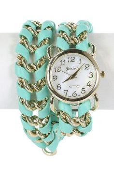 Accessories https://sincerelysweetboutique.com/accessories.html #accessory #accessories #jewelry | Bracelet - Timely Manner Twist Chain Bracelet Wrap Watch in Mint