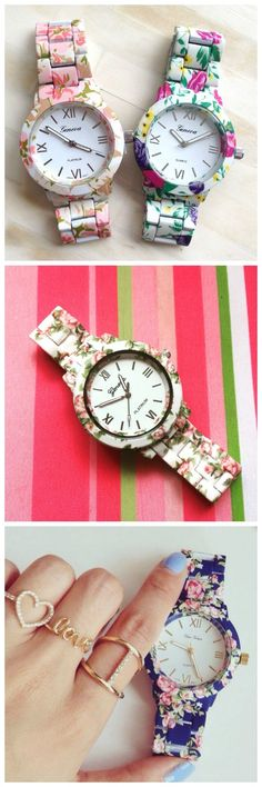 Flowers Colors Fashion Party Girl Teen Wrist Watch Woman Floral Gift New Watch