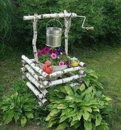 Garden Yard Ideas, Diy Garden Projects, Garden Crafts, Garden Art, Wood Log Crafts, Diy Garden Fountains, House Plants Decor, Cottage Garden Design, Rustic Gardens