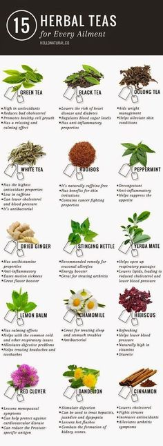 Green tea is not the only tea with promising (and according to many sources, PROVEN) health benefits. This infographic illustrates and describes 14 other healing herbal teas. www.detoxmetea.com www.detoxmetea.co...
