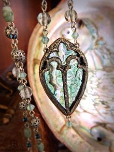Aegea  Stained Glass Necklace by ParrishRelics on Etsy, $122.00