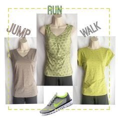 TopsLAST REDUCTION Bundle of 3 workout tops..all medium in excellent, like new condition..no imperfections.. green short sleeve(Danskin), beige(Magellan), green sleeveless(shebeest) Tops