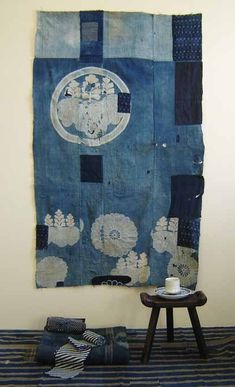 Blue Japanese tapestry