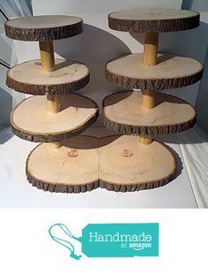 Large Rustic cupcake stand, 7 tier tree slice display stand, wood slice treat stand, rustic wedding décor, bark edge from Nazareth Wood Creation https://www.amazon.com/dp/B01MPXJ5S0/ref=hnd_sw_r_pi_dp_czReybB1AKN3A #handmadeatamazon