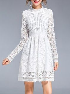 White Lace Long Sleeve Stand Collar Mini Dress