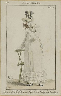 1813 Costume Parisien. Hat of Italian straw, trimmed with gauze. Dress a la Vierge, in muslin.