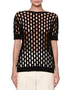 MARNI Butterfly-Back Short-Sleeve Fishnet Sweater, Black. #marni #cloth #