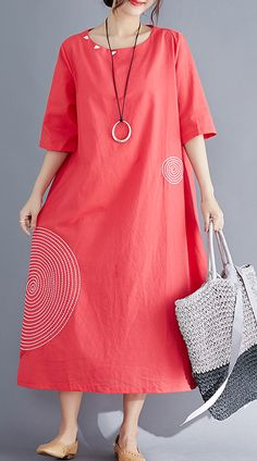 Modern o neck embroidery cotton tunic top Vintage Work Outfits red Maxi Dresses Summer – Work Fashion Fall Outfits For Work, Casual Work Outfits, Spring Outfits, Dresses For Work, Summer Workout Outfits, Cotton Tunic Tops, Red Maxi, Mode Hijab, Ladies Dress Design