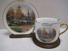 Thomas Kinkade Teleflora Cup Saucer Stand The Aspen Chapel Church Comfort Faith
