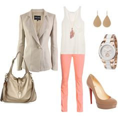 Leave the blazer unbuttoned and roll up the sleeves to 3/4 length. Cute outfit for Spring! :)