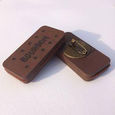 Bourbon Wooden Biscuit Brooch