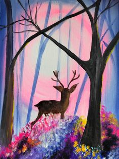 Step by step to your own Masterpiece with Paint Along Paint Party, Beautiful Artwork, Deer, Moose Art, Painting, Painting Art, Paintings, Painted Canvas, Drawings