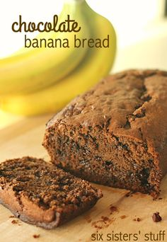 Chocolate Banana Bread on SixSistersStuff.com