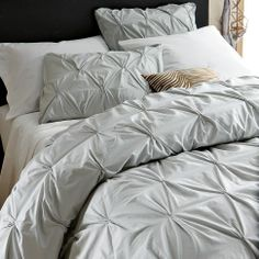 WestElm Pintuck Duvet Cover in Sea Spray  I love the light grey-blue of this duvet and the simple pintuck pattern, which is simple and not overly feminine.
