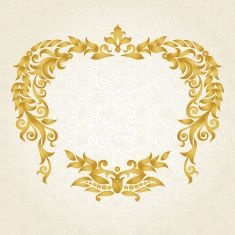 Vector ornate frame in Victorian style. vector art illustration