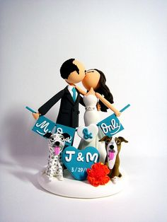 Romantic Customized wedding cake topper with dogs by Clayphory
