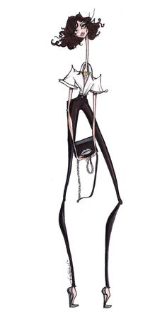 SHOP THE LOOK: Do You DVF? Jamie Lee Reardin's sketch beautifully captures Cathy Pill's classic chic style, always mixing and matching high end, high street and up an coming designers.