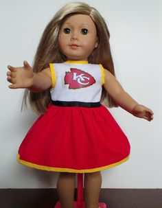 Kansas City Chiefs American Girl Doll Dress...KC CHIEFS! by DollsDamselsandDames on Etsy