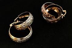 4f688eee1956 ACOFLO Arracada diamantada ancha en chapa de oro 3 colores (florentino)