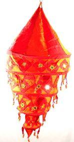 "Yapree Handmade Fabric Hanging Lantern 4 Tier RED: 36"" Long"