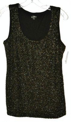 Ann Taylor Loft Black & Gold Sleeveless Career/Dress Blouse Sz Med NWT