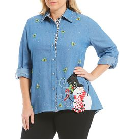 0a3e998117 Adorable plus size snowman and holly shirt from Berek looks so festive and  comfortable!