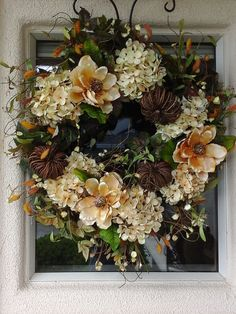 Thanksgiving Holiday Wreath in Soft Muted Creams Gorgeous in Cream,Natural,Amber, and Greens Hand crafted here at The Elegant Clutter Generously Wrapped Vines,Twigs,Cattails, Ivy,on to Sturdy Grapevine Base Wreath is Large, and Full approx 30 10 deep Large Ball Hydrangeas,Magnolias,Twig Pumpkins, gather around to add a pretty cottage home feel.. Ideal for all year.. and gorgeous to show off at Thanksgiving time Wreath is perfect for all year round..inside or out.. lovely to display in en...
