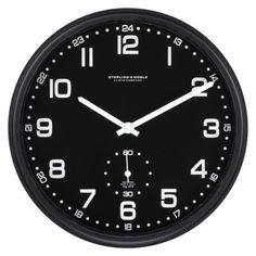 Threshold Brushed Aluminum Black Wall Clock