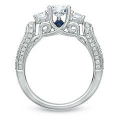 Vera Wang LOVE Collection 1-1/3 CT. T.W. Diamond Three Stone Engagement Ring in 14K White Gold