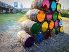 mark reigelman II has realized a temporary, site-specific installation in louisville, kentucky using a symbol of the southern city: barrels. Neon Birthday, Banner, Call Art, Red Art, Event Decor, Event Ideas, Public Art, Installation Art, Seasonal Decor