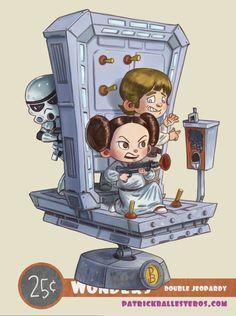 Leila Star Wars, Star Wars Karikatur, Star Wars Cartoon, Star Wars Decor, Twisted Disney, Star War 3, Star Wars Party, Love Stars, Geek Art