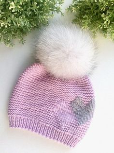 Toddler girls hat Knit hat with fur pompom Baby girl knit