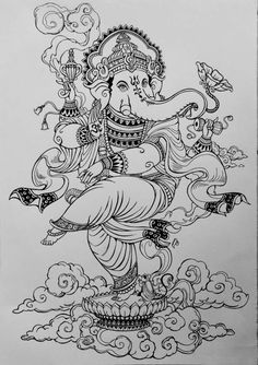 draw the line Ganesha Sketch, Ganesha Drawing, Ganesha Painting, Ganesha Art, Lord Ganesha, Saree Painting, Kerala Mural Painting, Madhubani Painting, Indian Art Paintings