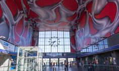 Why avant garde Graz is Vienna's cooler little sister The entrance hall of Graz central station, with interior by Peter Kogler. Graz Austria, Art Festival, Little Sisters, The Guardian, Vienna, Central Station, Entrance Hall, Travel, Interior