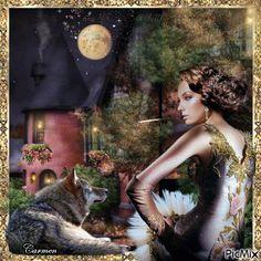 Ritratto di donna con lupo