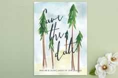 """""""Tall Trees"""" - Destination, Hand Drawn Save The Date Postcards in Pine by Nikkol Christiansen."""