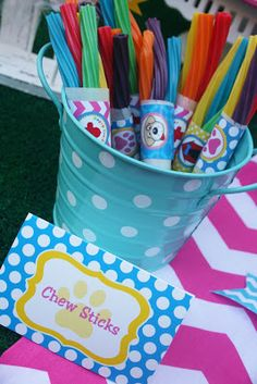 Puppy Party --- lots of cute ideas....puppy chew sticks are Twizzlers....
