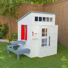 modern outdoor playground Wood Playhouse, Modern Playhouse, Girls Playhouse, Playhouse Outdoor, Playhouses For Girls, Playhouse Ideas, Outdoor Playground, Fancy Houses, Play Houses