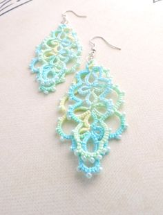 Delicate and elegant layered lace earrings, hand-crafted in Waterford, Ireland. These beautiful earrings feature a delicate and eye catching design Lace Earrings, Lace Jewelry, Crochet Earrings, Jewellery, Unique Jewelry, Waterford Ireland, Teal, Turquoise, Beautiful Earrings