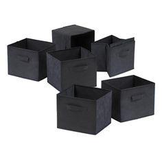 Winsome Wood 22611 Capri Set of 6 Foldable Black Fabric Baskets