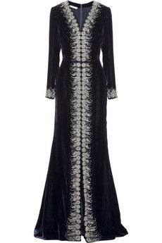 Oscar de la Renta Embellished velvet gown | NET-A-PORTER ~ THIS IS AMAZING!!! STUNNING, GORGEOUS . . . . I LOVE this!