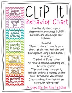 Clip It! Behavior Chart {Chevron} Looking for an EDITABLE behavior chart to meet your classroom/school expectations? Clip It! Use this fun behavior chart in your Behavior Management System, Classroom Behavior Management, Behavior Plans, Classroom Behavior Chart, Kindergarten Behavior Charts, Behavior Log, Behavior Clip Charts, Behaviour Chart, Behavior Chart Printable