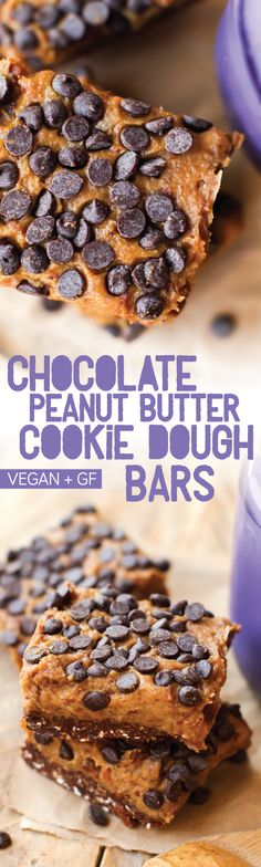 Chocolate Peanut Butter Cookie Dough Bars // Reese's flavor transformed into a gooey chewy bar! Vegan, gluten-free, oil free.