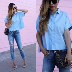 Get this look: http://lb.nu/look/8280241  More looks by Sasa Zoe: http://lb.nu/shallwesasa  Items in this look:  Only $58 Shirt, $88 Jeans, Sunglasses, Bag, Heels   #chic #classic #romantic #shirt #blue #squareshirt #summeressential #ripped #effortless