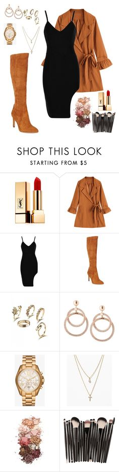 """Coat & dress"" by glitterqueenz ❤ liked on Polyvore featuring Yves Saint Laurent, Sam Edelman, Michael Kors, LOFT, Sigma and dress"