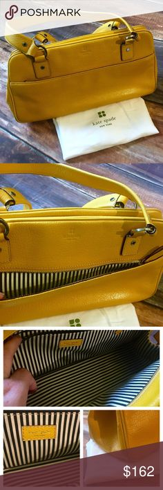 SOLD Kate Spade satchel EUC, very well cared for. Stored in dust bag. Beautiful bag and the only signs of wear are on the corners but it is minimal. See picture. Black and white striped interior fabric is in excellent condition, no signs of wear or flaws. Has an outside pocket with zipper and interior zippered pocket. Color is a mustard yellow, a great color for the fall!! kate spade Bags Shoulder Bags